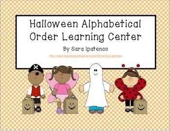 Alphabetical Order Literacy Center: Halloween Theme