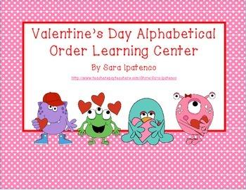 Alphabetical Order Literacy Center: Valentine's Day Theme