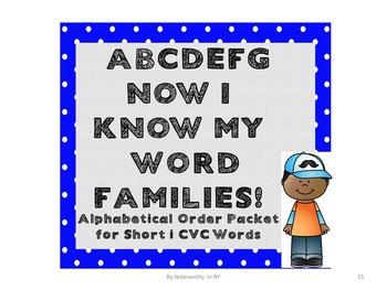 Alphabetical Order Packet for Short i CVC Words - Set 3