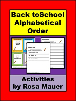 Alphabetical Order Back to School Activities Review