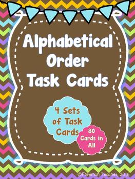 Alphabetical Order Task Cards - 4 Sets