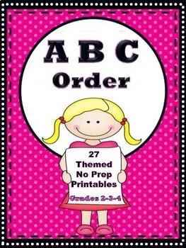 ABC Order - Themed No Prep Printables   Grades 2-3