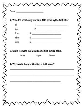Alphabetical order - first letter - Journeys Unit 1, Week 4
