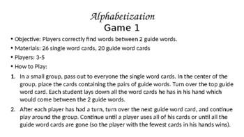 Alphabetization Game