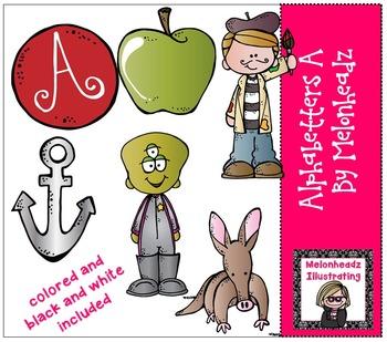 Melonheadz: Alphabetter A clip art - Combo Pack
