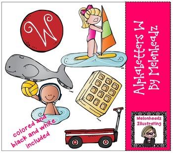 Melonheadz: Alphabetter W clip art - Combo Pack