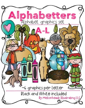 Melonheadz: Alphabetters A-L bundled package clip art - Co