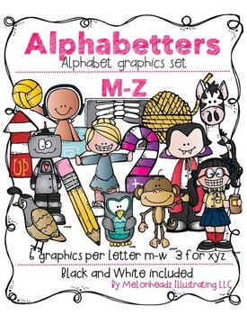 Melonheadz: Alphabetters M-Z clip art bundled package - Co