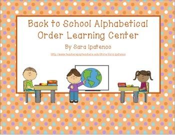 Alphabetical Order Literacy Center: Back to School Theme