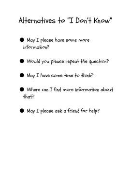 Alternatives to I Don't Know