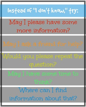 """Alternatives to """"I don't know"""" Poster"""