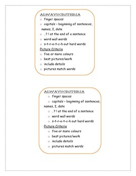 Always Criteria  and Picture Criteria for primary written work.