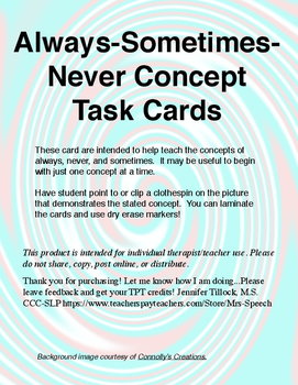 Always-Sometimes-Never Concept Task Cards