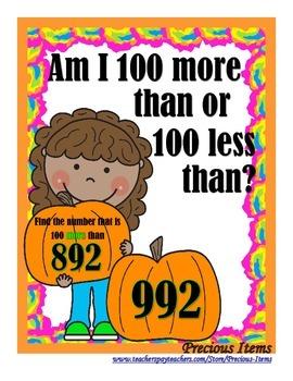 Am I 100 More Than or 100 Less Than?  Girl & Pumpkin
