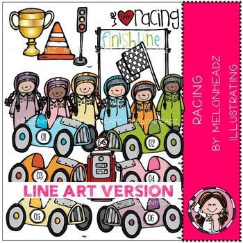 Melonheadz: Racing clip art - LINE ART