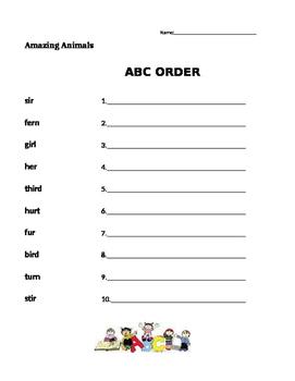 Amazing Animals - Journeys 1st Grade- ABC Order