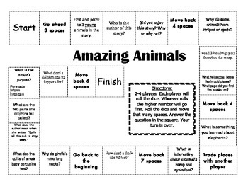 """""""Amazing Animals"""" Comprehension Game Board- Journeys story"""