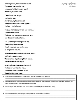 Amazing Grace Poetry Activity