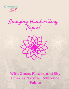 Amazing Handwriting Paper with Sky, Flower, and Grass Guide Lines