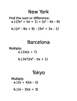 Amazing Race Quadratic Factoring/Solving/Basic