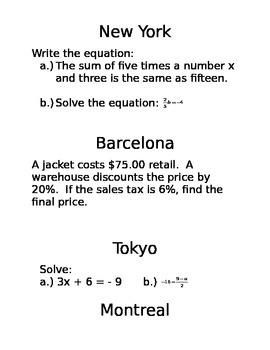 Amazing Race Solving Equations