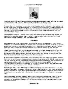 Ambrose Bierce: Biography Annotate