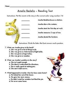 Amelia Bedelia Assessment