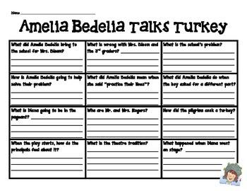 Amelia Bedelia Talks Turkey Comprehension Chart