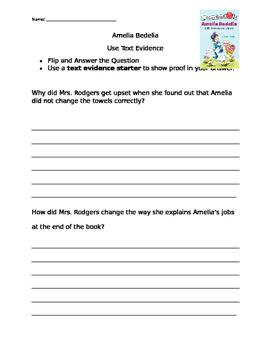 Amelia Bedelia Text Evidence