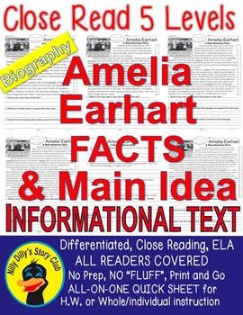 Amelia Earhart Close Read 5 Levels Passages Informational