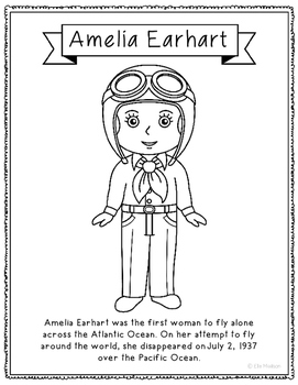 Amelia Earhart Coloring Page Activity or Poster with Mini