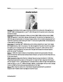 Amelia Earhart -  Review Information - questions - supplem