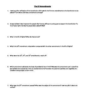Amendments Critical Thinking Questions/Create an Amendment