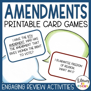 "Amendments Task Cards: ""I Have, Who Has..."" and ""Who Am I?"""