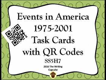 America:  1975-Present Day Task Cards with QR Codes