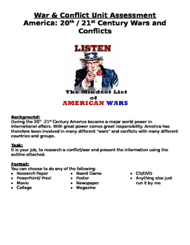 America: 20th/21st Century Wars & Conflicts Assessment- re