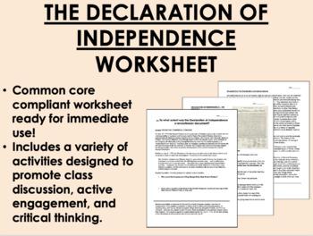 America Declares its Independence worksheet - US History C