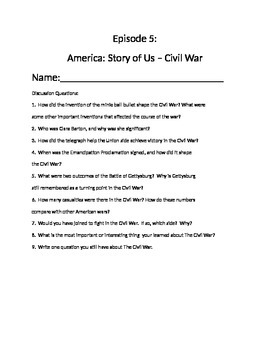 America Story of Us Episode 5 Civil War and primary source