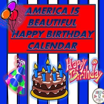 America is Beautiful Birthday Calendar