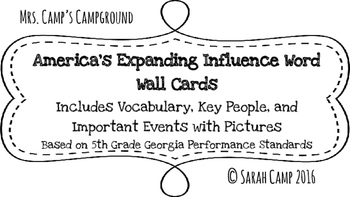 America's Expanding Influence Word Wall/Bulletin Board Cards