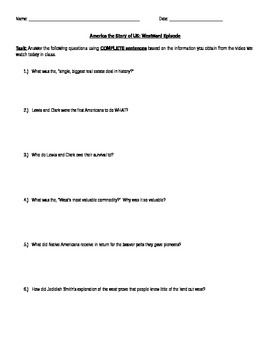 """America the Story of US Question Sheet for """"Westward"""" Episode"""