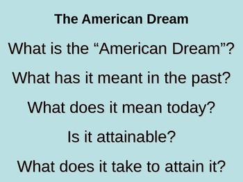 American Dream Poems PowerPoint