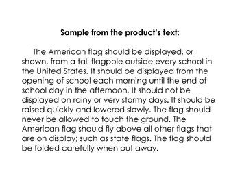 American Flag Lesson w/ 12 Multiple Choice Qs: Reading Soc
