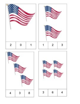 American Flag Theme Count and Clip Cards! #1-19