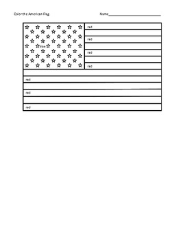 American Flag (With color word assistance)