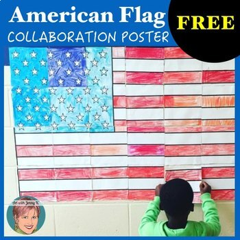American Flag Classroom Patriotic Collaboration Poster #we