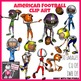 American Football Sport Action Clip Art Set - 30 Clipart images