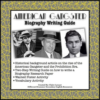 1920s American Gangster Biography Writing Guide and Activities