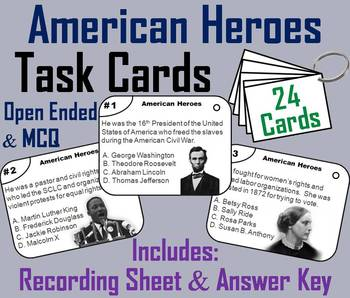 American Heroes Task Cards: Martin Luther King, Rosa Parks