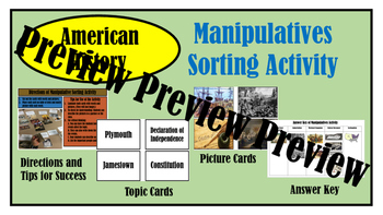 American History Manipulative Sort Activity